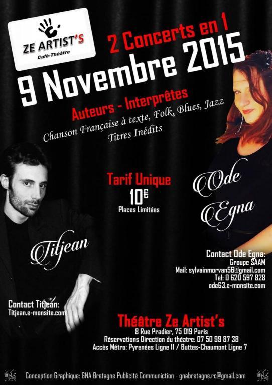 Concerts Ode Egna / Titjean au Café Théâtre Ze Artist's