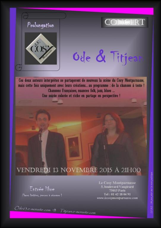 affiche Cosy 13.11.2015