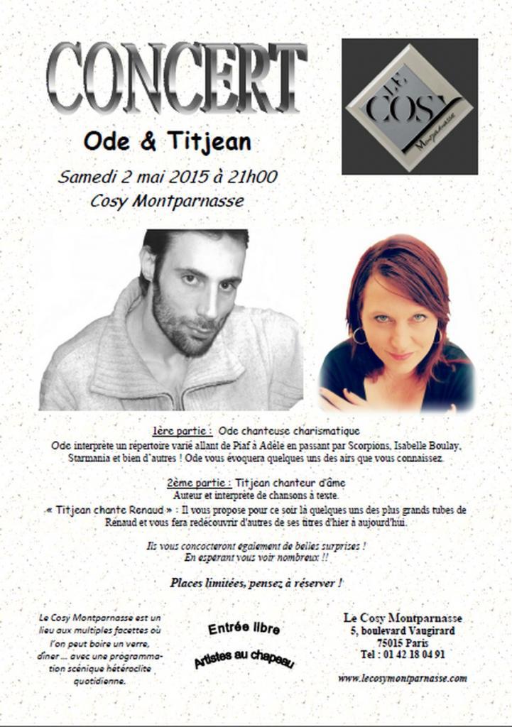 Concert Cosy Montparnasse (Paris) 2 mai 2015 avec Titjean